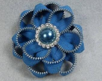 Blue Flower Brooch, Zipper Brooch, Blue Brooch, Blue Pin, Zipper Pin, Zipper Art, , Flower Pin, Upcycled, Recycled, Repurposed, Blue zipper