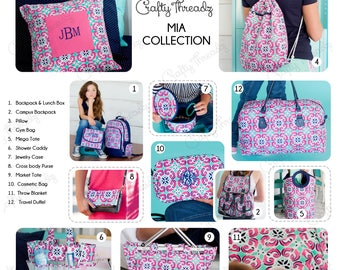 Monogrammed Backpack, Personalized Mia Collection, Monogram Campus Backpack, Gym Bag, Shower Caddy, Monogrammed Pillow