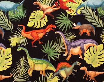 Dinosaurs on Black Fabric -  100% Cotton Quilting Apparel Crafts Home decor