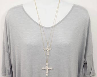 Freshwater Pearl Wired Cross Necklace