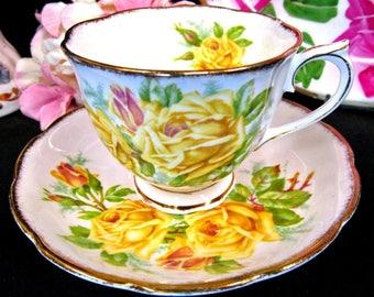 Royal Albert Tea Cup and Saucer Yellow Tea Rose Pattern Teacup Countess Shape
