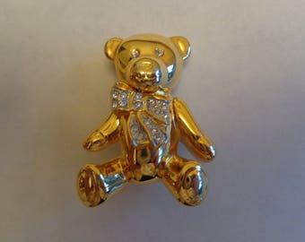 Vintage Teddy Bear Rhinestone Brooch, Teddy Bear Jewelry, Vintage Bear Brooch, Teddy Bear Pin, Gold Tone Teddy Bear Vintage, Vintage Brooch