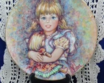 Cherish Plate with COA, Artist Mary Vickers, Blossoming of Suzanne Collection Plate, Wedgewood Plate, Cherish Collector Plate Mary Vickers