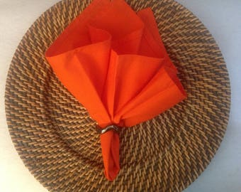 Cloth Napkins in a Bright Orange Color, Cloth Dinner Napkins, Reusable Cloth Napkins, Sets of 2 or 4