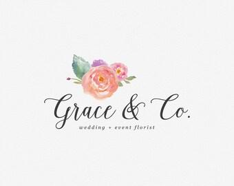 Premade Logo Design | Watercolor Flower Logo | Calligraphy Logo | Photography Logo | Boutique Logo | Small Business Logo | PL-086