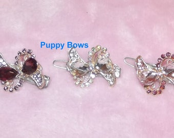 """Puppy Bows ~ Wee super tiny hair clips for dogs bow pet barrette pink purple crystal 1""""~ US Seller"""