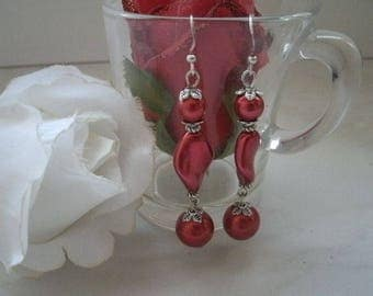 red glass pearls earrings