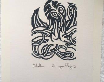 "Choice of Eye Color Dark Grey ""Cthulhu"" Limited Edition Linocut Print 5"" x 7"" Image Area Mounted on 9"" x 12"" 140 lb. Water Color Paper"