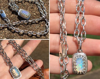 Gem Ethiopian Welo Opal Necklace with Handmade Soldered Oval Link Chain