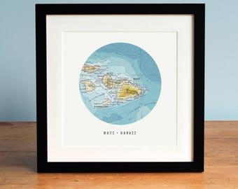 Map of Maui, Hawaii map, Circle Map, Map of Hawaii Framed, Hawaii Gift, Personalized Map Art, Custom Map Art