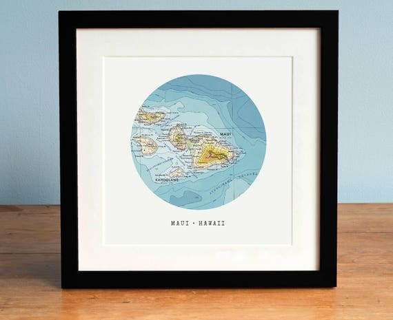 Map of maui hawaii map circle map map of hawaii framed like this item sciox Gallery