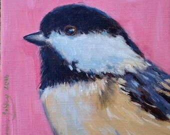 Chikadee Original Oil Painting Illustration - Wall Art - Nursery - Wildlife - Decor - Bird -Artwork