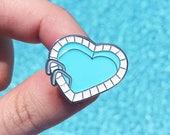 Heart shaped pool enamel pin