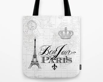 Paris Tote Bag , Black and White Travel tote, Bon Jour, Eiffel tower, France travel  beautiful, mom, gym bag, grocery tote, teacher gift
