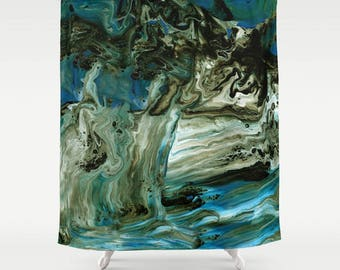 Blue and Brown Marble Shower Curtain - Waterfall - Geological aqua, black,  paint marbling,  modern unique, beautiful home decor bathroom