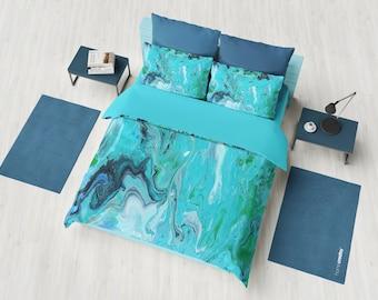 Blue Marble Duvet Cover or Comforter, modern marble, unique elegant, beautiful blues, teal bedroom decor