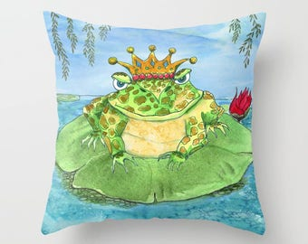 Frog King Throw Pillow, frog prince kid's pillow, cute whimsical, illustrated decor, cushion, character,  bed, blue green, kids