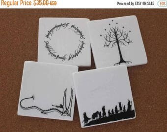 SALE Set of 4 Tumbled Marble Tile Coasters - Lord of the Rings Inspired