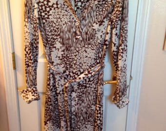 Very Cool 70's Vintage Dress Self Belt Wow! M-L Abstract Brown White Pockets!