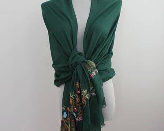 Green Wedding Scarf, Wedding Shawl with Flower Embroidery, Bridesmaid Wrap, fall scarf, winter scarf, winter shawl, autumn scarf,
