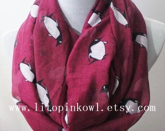 Pink penguin infinity scarf, penguin scarf, infinity scarf, Gift For Her, Christmas Present, Christmas Gifts, For Her, For Women, For Mom
