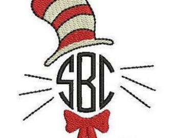 Dr Seuss Cat in The Hat Monogram | Happy Birthday Dr Seuss