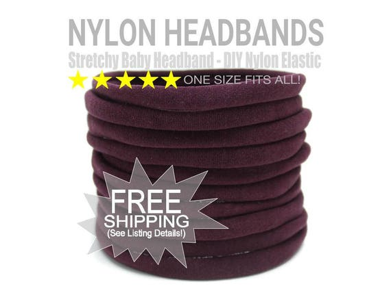 MAROON Nylon Headbands Wholesale / Wholesale Spandex Headband / Skinny Very Stretchy One Size Fits most Nylon