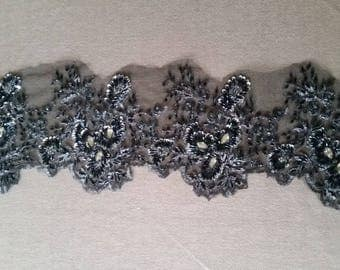 1 coupon high lace fabric embroidered beaded couture black and silver color