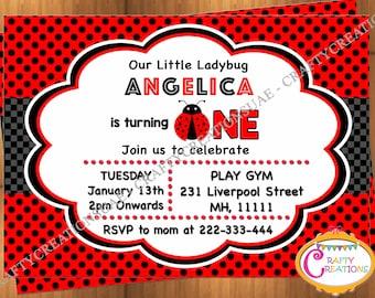 Ladybug Invitation for Birthday Party - Ladybug Invite - Printable Ladybug Invitation - 1st Birthday Ladybug Invitation - CraftyCreationsUAE