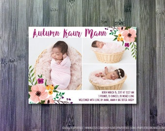 Sweet Flower Birth Announcement | BA23
