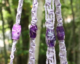 Lavender Macrame Plant Hanger with Purple and White Swirl Marbella Beads