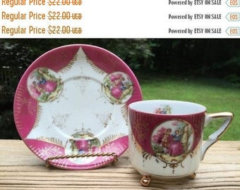 ON SALE Royal Sealy Teacup Saucer Japan China Teacup Saucer Mid-Century Cameos Courting Couple Tri-footed 1950s