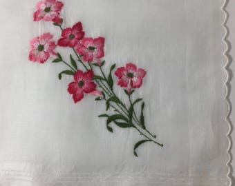ON SALE Hankie Pink Blossoms  Embroidered Scalloped Edge Vintage