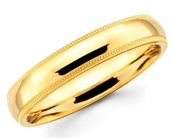 10K Solid Yellow Gold 4mm Milgrain High Polish Comfort Fit Wedding Band Ring