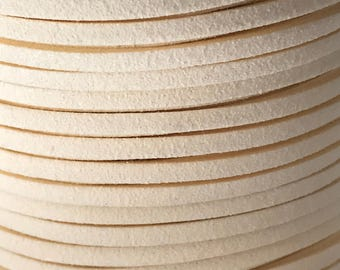 Ivory Cream Faux Suede Cord - 5m