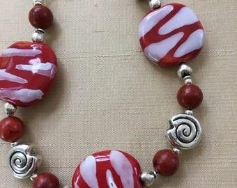 Red/silver Kazuri bead bracelet