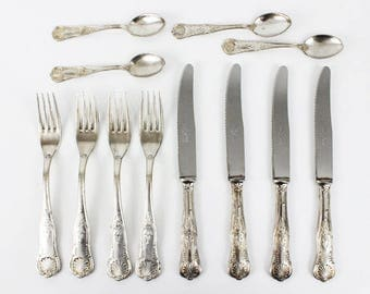 Silverplate Flatware Set, Vintage Flatware Set, Antique Flatware Set, Antique Silverware Set, Vintage Silverware Set Wedding Silverware-E039