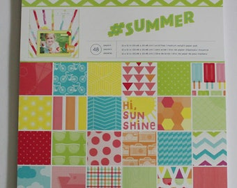 "American Craft ""#Summer"" 12"" x 12"" Paper Pad, 1 pkg overlays, 6x6 pad, 1 pck buttons and extra sheets"