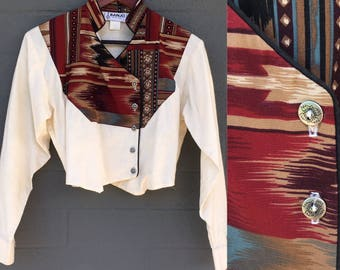 Small Vintage Banjo of Dallas, Texas Western shirt Cream with Red Black Tan and Silver Buttons Long