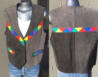 Vintage Men's Medium Black Grey Denim Vest with Ultra Suede Patchwork 1990s Western Cowboy Swag Color Block