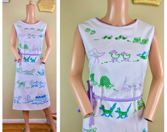 Vintage 60s Vested Gentress Novelty Turtle Cat Animals Preppy Dress Noah's Ark L sz 12
