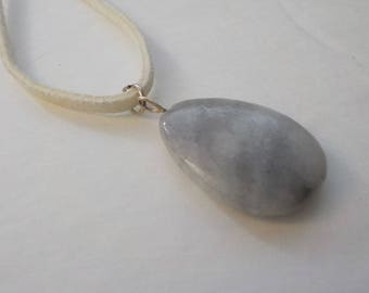 Jewelry SALE, One Gray Stone Pendant Necklace, Matinee Length, Gray Necklace, Stone Pendant, Pendant Necklace, Suede Cord, Boho Necklace