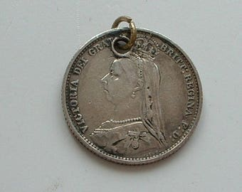 1888 Victorian sixpence coin pendant
