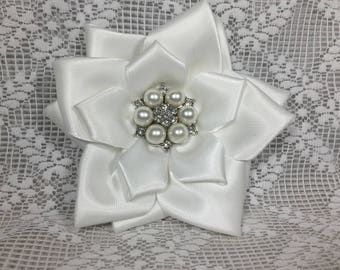 White Satin Accessories-Roses & Bows-  Brooch,Hair Clip, Hair Tie, Shoe Clips, Wrist Corsage/Anklet.