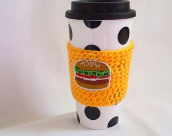 Yellow crochet coffee sleeve with burger motif. Perfect small gift for coffee lovers/teachers.