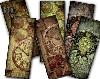 """Printable bookmarks """"Steampunk Victorian Bookmarks"""" Digital Collage bookmarks Collage Sheet Instant Download gift Tags Jewelry Digital S_007"""