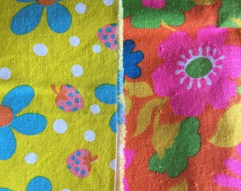 Vintage Flower Power 1970s Cotton Broadcloth Fabric Pieces