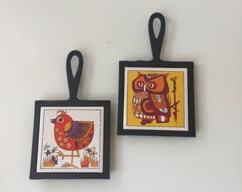 Vintage Mid Century Tile Trivets Owl and Bird