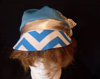 Aqua, Silver and White Kutzie Hat