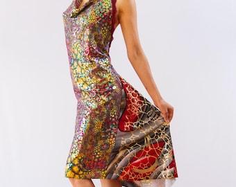Disco  Night Tango Dress - Argentine Tango Dress - Cowl Neck Dress - Halter Tango Dress - Open Back Milonga Dress - Bright Dance Dress